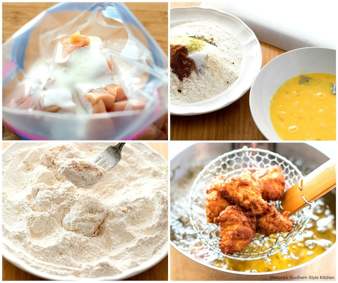 step-by-step images how to prepare fried chicken