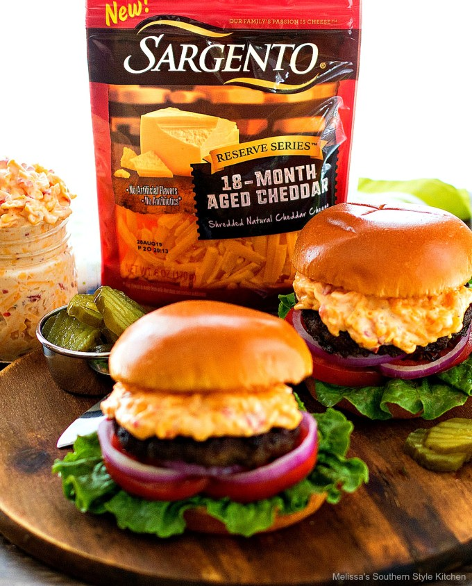 cheeseburgers with pimento cheese made with Sargento