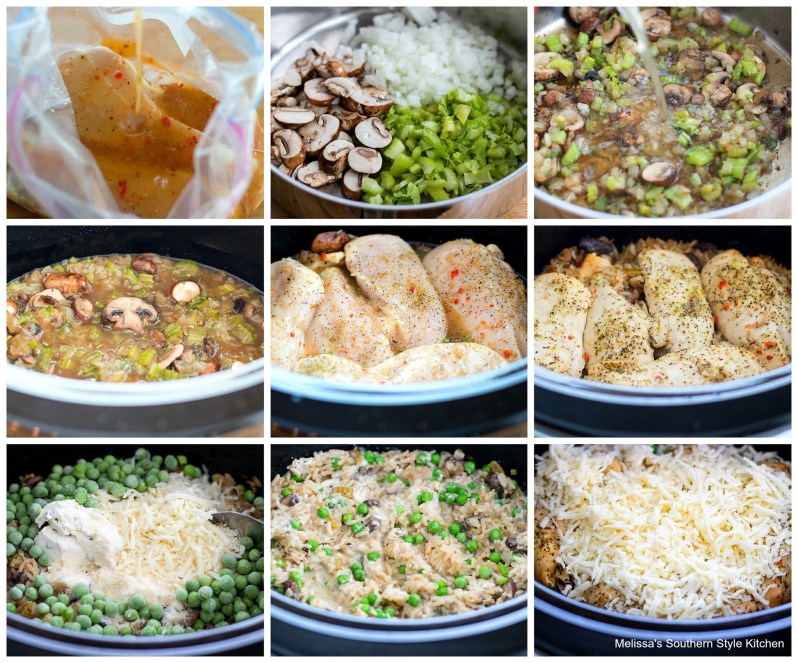 step-by-step images and ingredients for crockpot chicken and rice