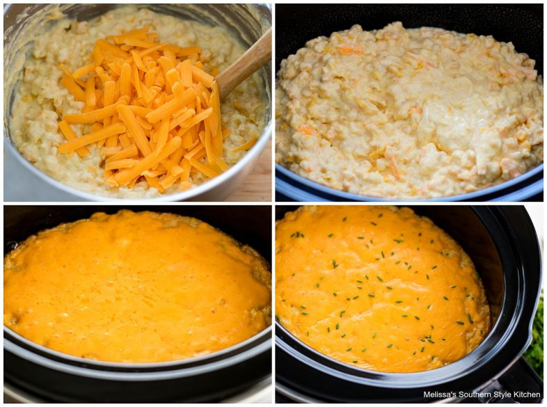 step-by-step preparation images cornbread cheese and corn in a crock pot
