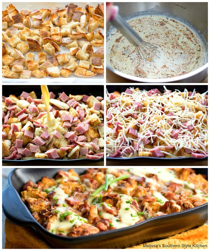 Step-by-step images ham muffins and cheese in a dish