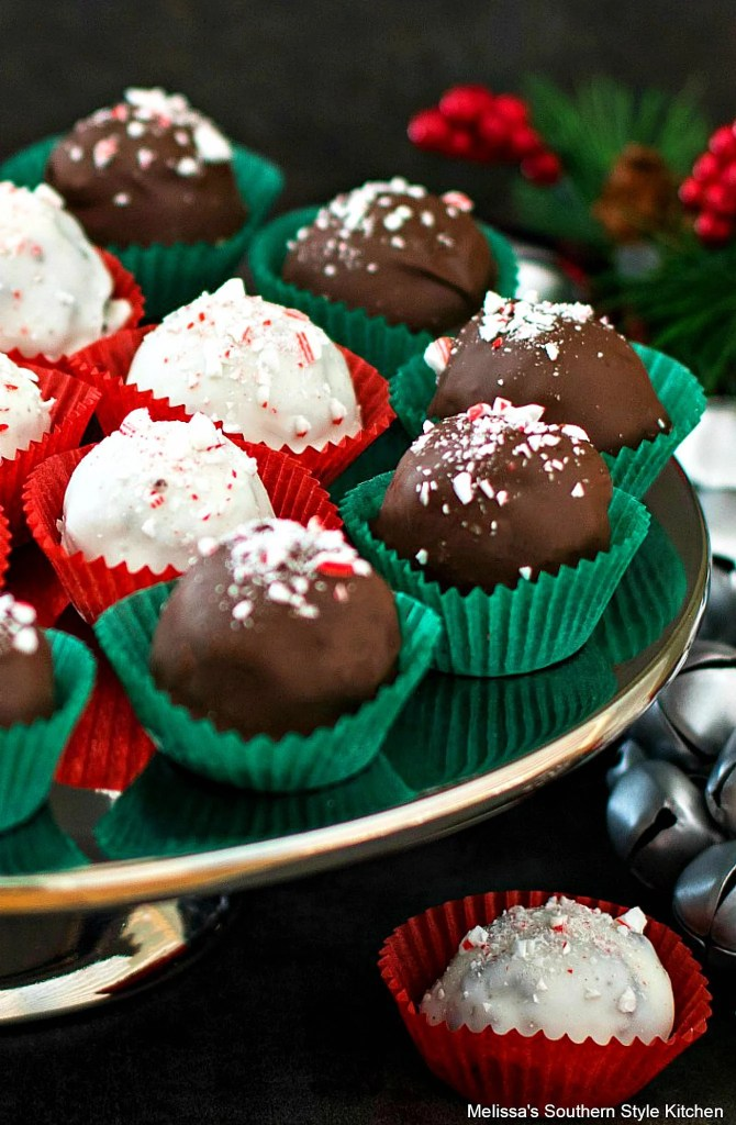 peppermint truffles on a cake stand