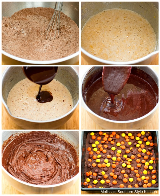 flour cocoa melted chocolate in bowl