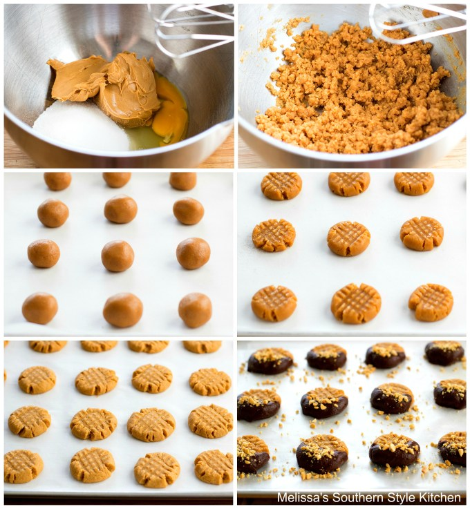 step-by-step images and ingredients for peanut butter cookies