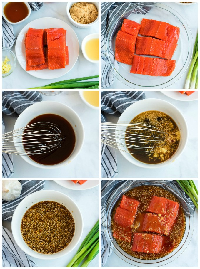 step-by-step images of salmon preparation