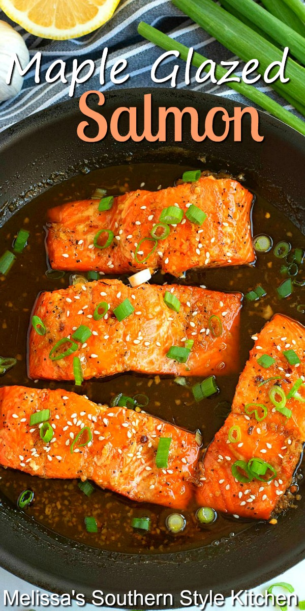 This Maple Glazed Salmon is ready and on the table in minutes #salmon #mapleglazedsalmon #salmonrecipes #dinner #seafoodrecipes #dinnerideas #southernfood #southernrecipes