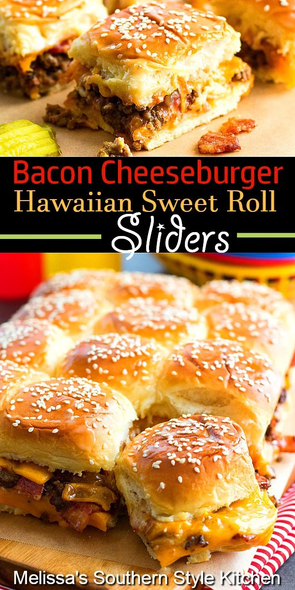 Irresistible pull apart Bacon Cheeseburger Hawaiian Sweet Roll Sliders #cheeburgersliders #baconcheeseburgers #cheeseburgers #sliderrecipes #Hawaiiansweetrolls #pullapartrolls #sweetrolls #dinnerideas #tailgating #dinner #southernrecipes #southernfood
