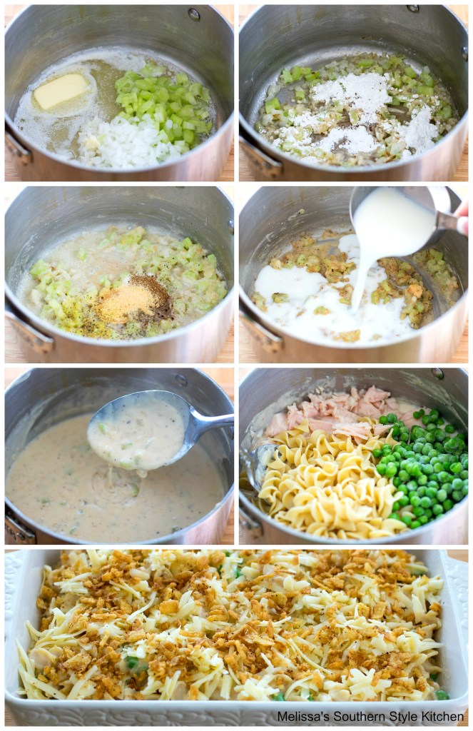 Step-by-step preparation images and ingredients for tuna casserole