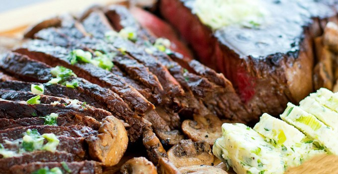 Teriyaki London Broil with Garlic Herb Butter