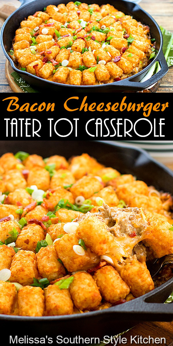 Bacon Cheeseburger Tater Tot Casserole features a flavorful cheeseburger filling topped with crispy potatoes is a one-dish-meal #cheeseburgercasserole #tatertotocasserole #cheeseburgers #easygroundbeefrecipes #dinner #dinnerideas #southernfood #southernrecipes #baconcheeseburgers