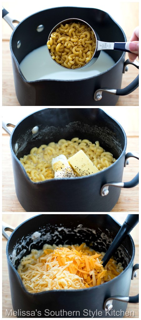 Step-by-step preparation images and ingredients for macaroni and cheese