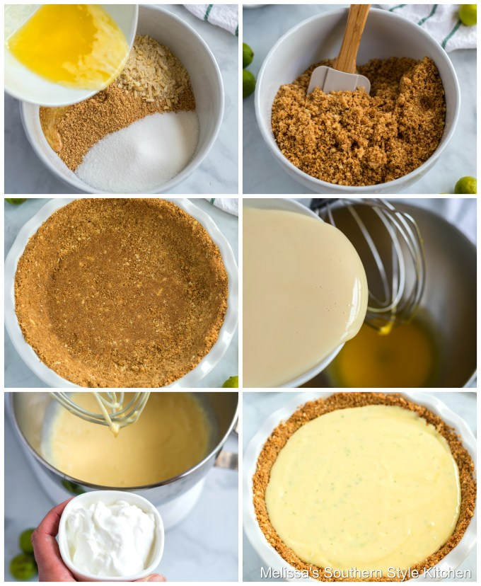 Step-by-step preparation images and ingredients for key lime pie