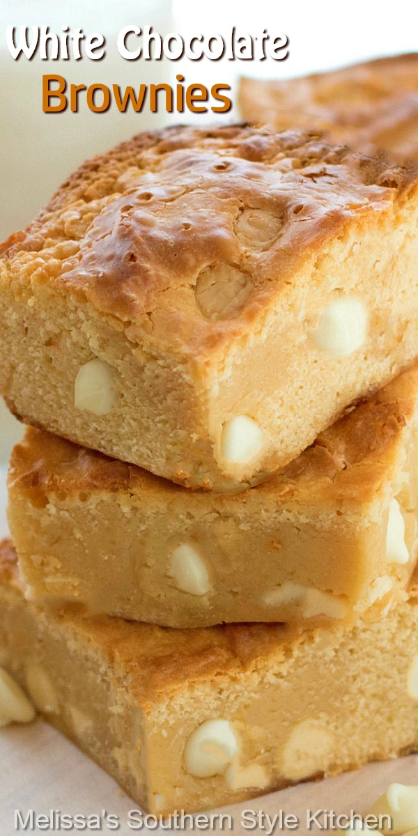 These White Chocolate Brownies are buttery and rich, the perfect handheld sweet snack #brownies #whitechocolatebrownies #brownierecipes #whitechocolate #chocolate #desserts #dessertfoodrecipes #southernfood #southernrecipes #sweets #holidaybaking #holidayrecipes