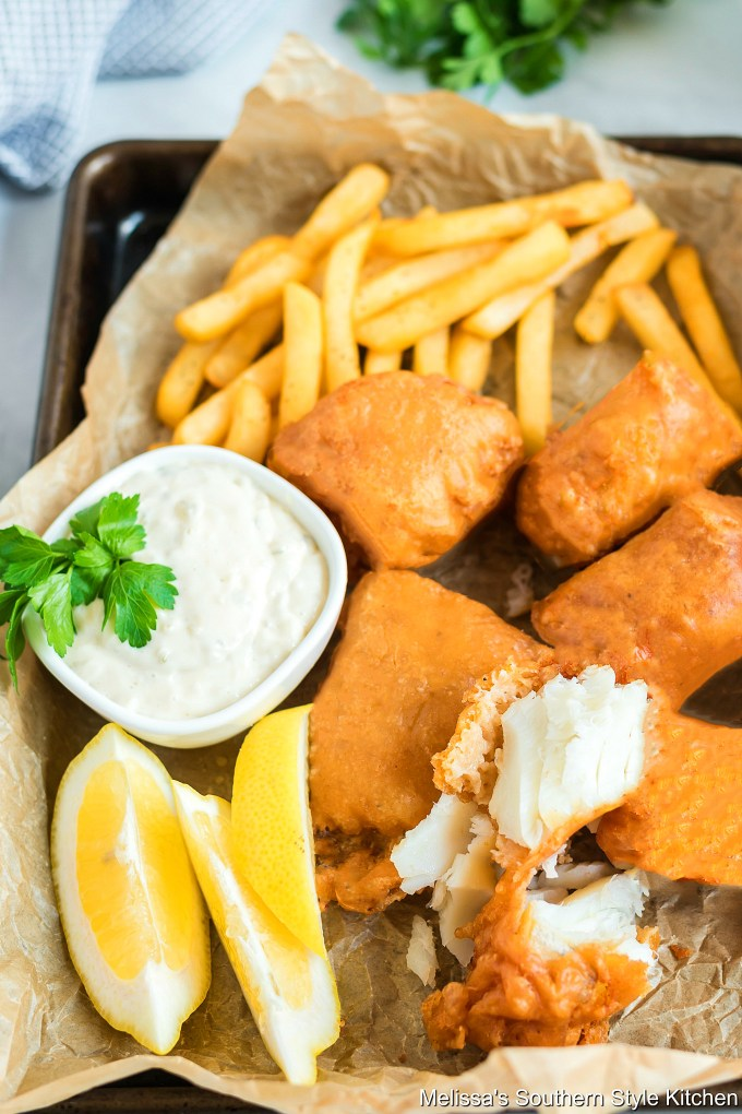 Flaky fried fish with french fries and tarter sauce