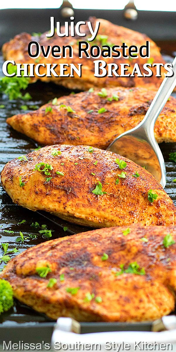 A flavorful spice rub takes these juicy baked chicken breasts to another level of flavor #chickenbreast #chickenrecipes #easychickenrecipes #chickenbreastrecipes #roastchicken #juciychickenrecipes #dinner #dinnerideas #southernfood #southernrecipes
