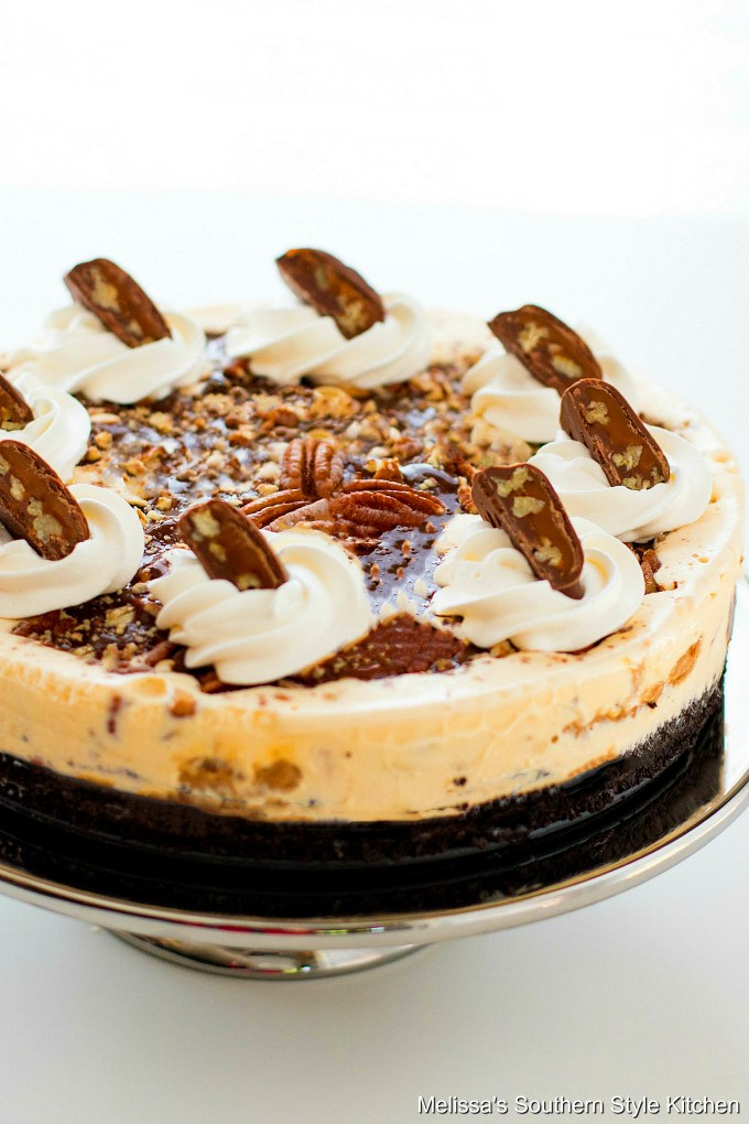 Turtle Ice Cream Pie on a stand