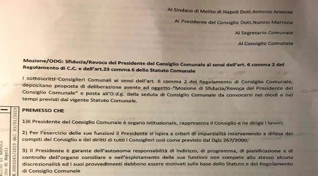 Melito - Sfiducia al presidente del consiglio Nunzio Marrone