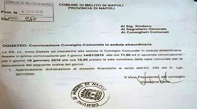 Melito - protocollo convocazione consiglio comunale 14-01-19