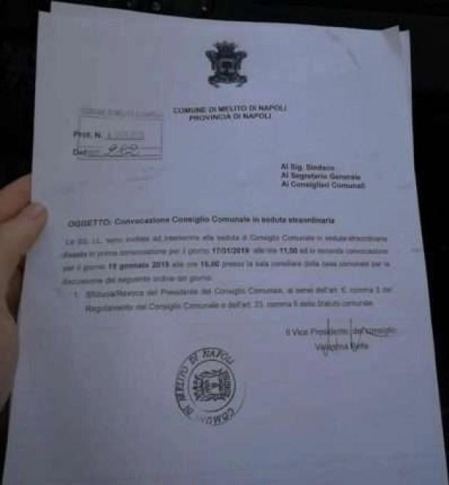 Melito - protocollo convocazione consiglio comunale 17-01-19