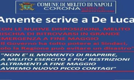 """Amente scrive a De Luca:""""A maggio avremo un nuovo picco di contagi"""""""