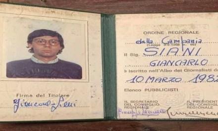 Conferito il tesserino da professionista a Giancarlo Siani, giornalista napoletano vittima della camorra
