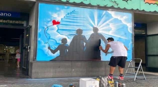Chiaiano. Un murale in memoria di Ulderico, il tabaccaio brutalmente ucciso