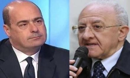 De Luca show: Zingaretti e il malocchio parlando con Vespa