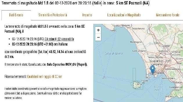 Napoli, cronaca. Scossa di terremoto nell'area flegrea