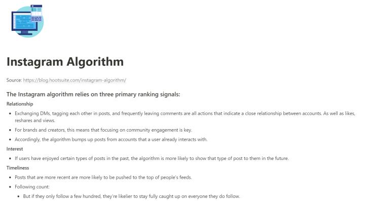 notion for blogging note-taking instagram algorithm