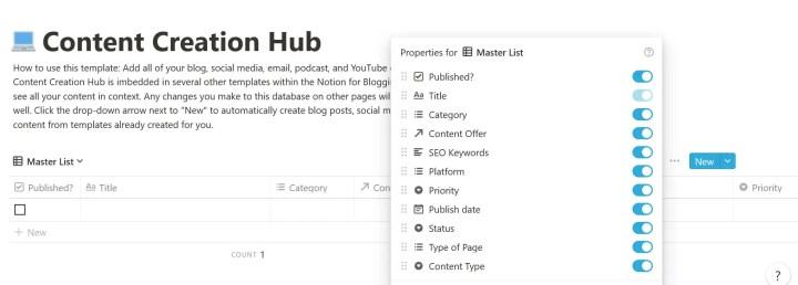 notion social media dashboard content creation hub