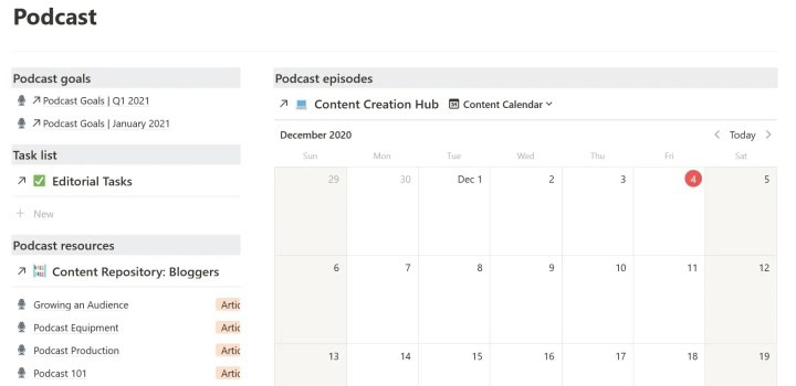 notion podcast dashboard screenshot