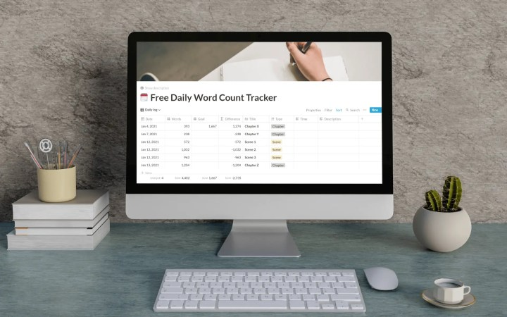 Free Notion Word Count Tracker Template free landing page featured image