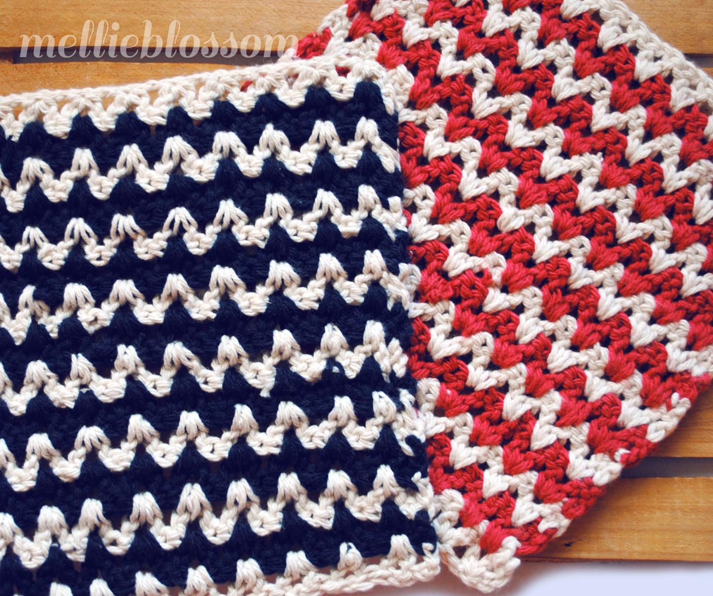 Free Crochet Dishcloth Pattern Zigzag Mellie Blossom