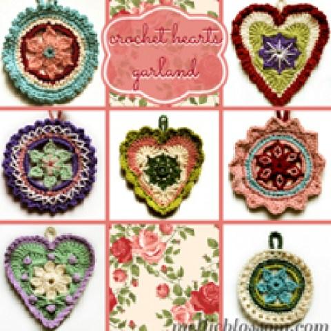 Crochet Hearts Garland