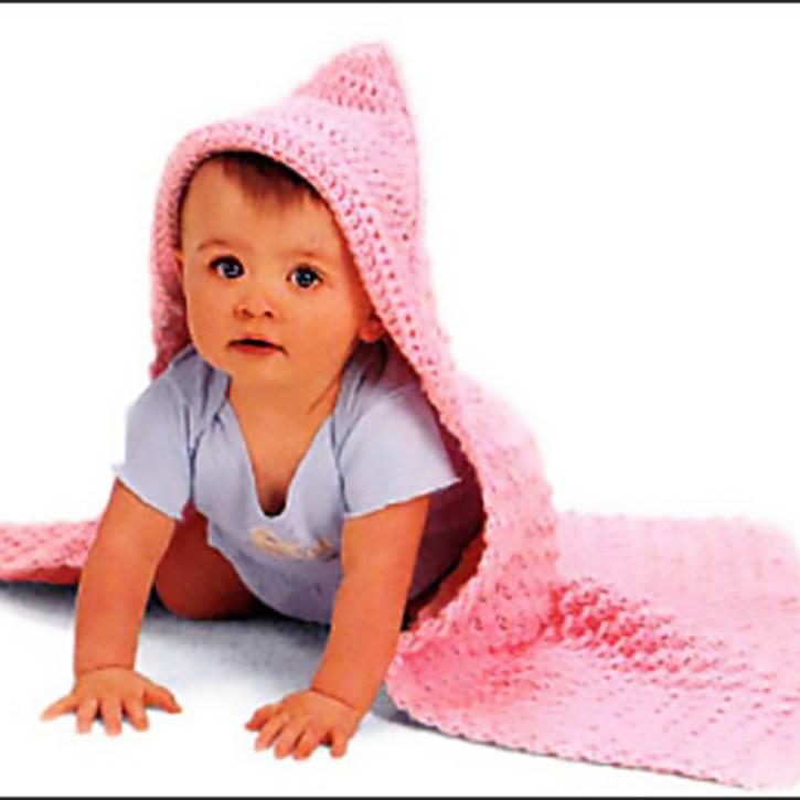 Lion Brand Free Crochet Pattern: Hooded Baby Blanket