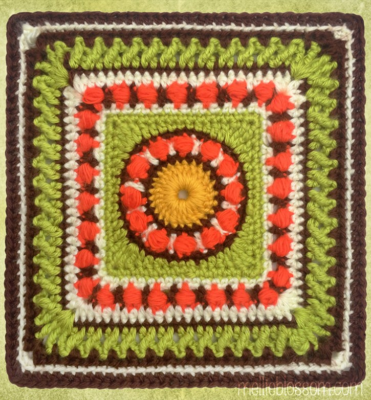 2017 Crochet Along - Moody Blues Crochet Square - mellieblossom.com