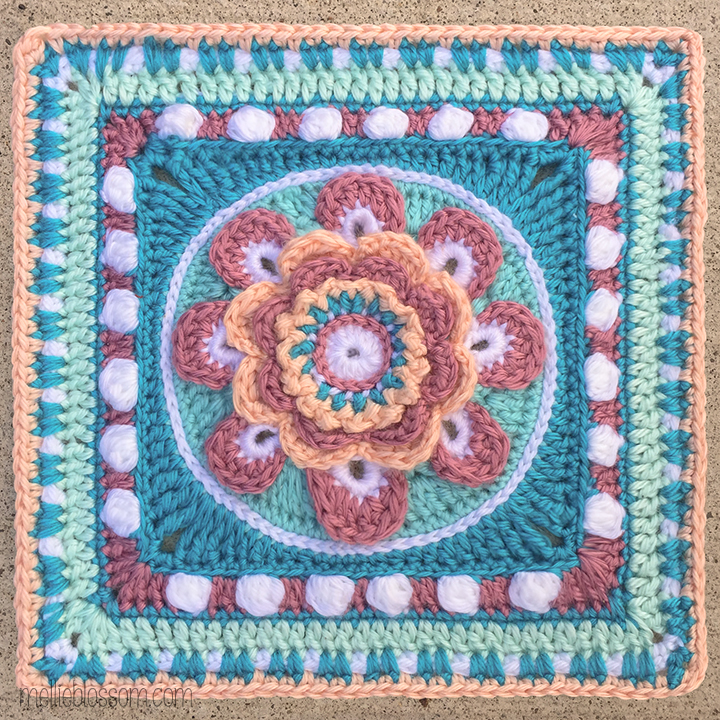 Crochet in pink and blue: Passion Flower Crochet Square - mellieblossom.com