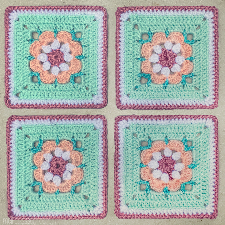 Crochet in pink and blue: Just Peachy Crochet Square - mellieblossom.com