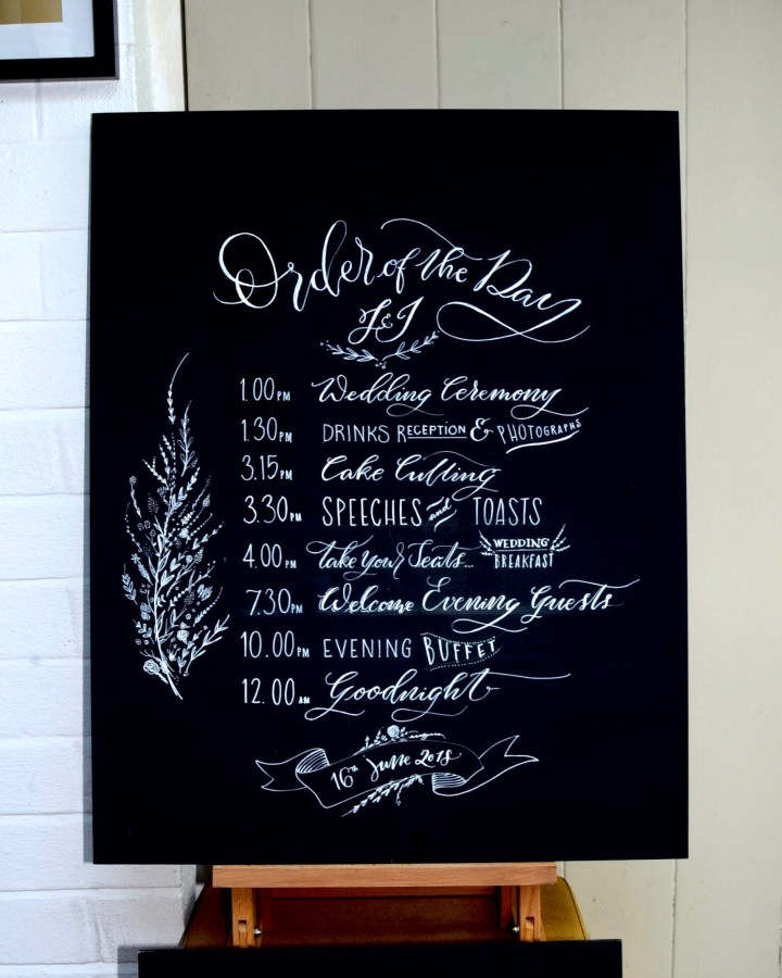 Hand lettered Calligraphy & Personalised Wedding Chalkboard/ Blackboards by Mellor and Rose in Lancashire