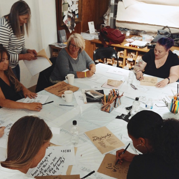 Brush Lettering workshop at CASS ART Liverpool with Mellor & Rose