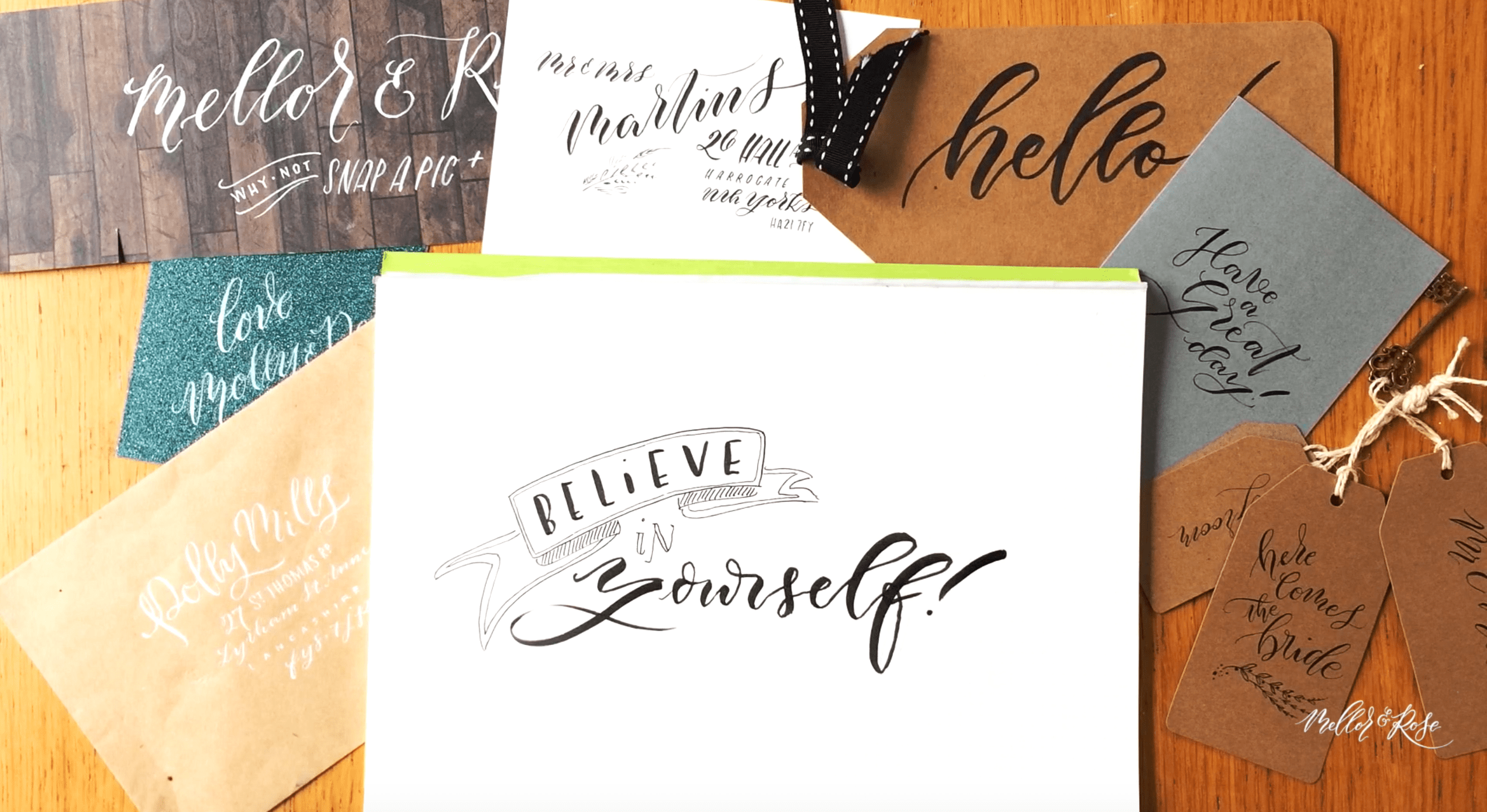 How to draw a calligraphy banner with Mellor and Rose // Mellor&Rose