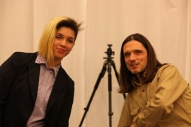 Jeremy Deller with one of the new players Molly McDonell-Reid.