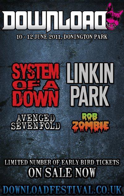 Al Download Festival 2011 i System of a Down e i Linkin Park