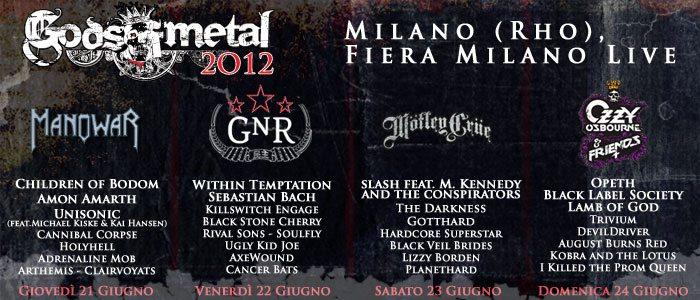 Gods of Metal 2012, cast e orari del Festival in scena a Milano