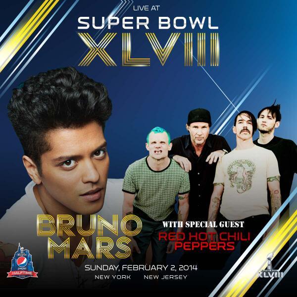 Red Hot Chili Peppers con Bruno Mars per il Super Bowl 2014