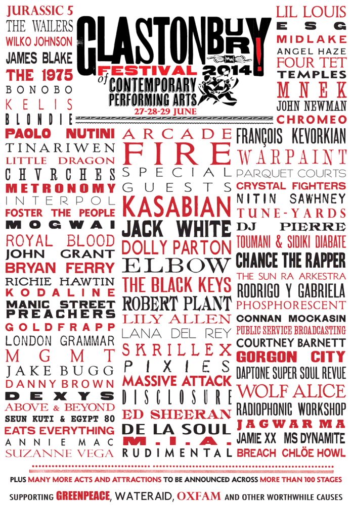 Glastonbury 2014 lineup © Official Site