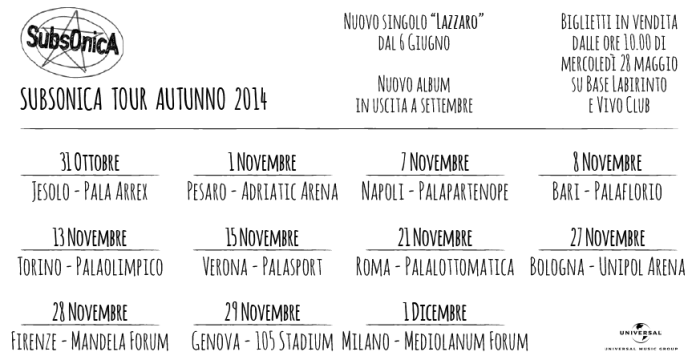 Subsonica Tour © Official Site