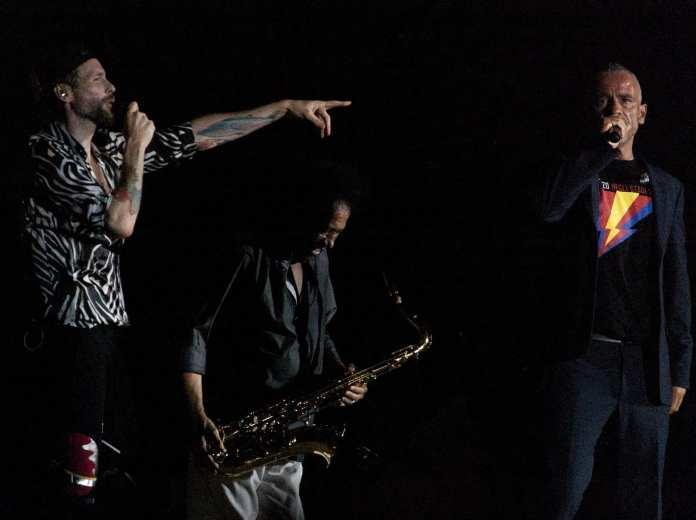 Lorenzo negli Stadi 2015, Stadio San Paolo di Napoli  - Jovanotti, James Senese e Eros Ramazzotti - Ph. © Angelo Moraca