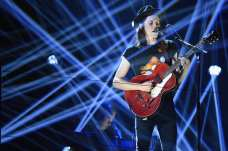James Bay performs on stage during the MTV EMA's 2015 (Photo by Brian Rasic/Getty Images for MTV)
