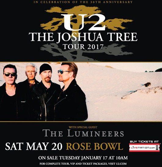 U2: The Joshua Tree Tour 2017 il 15 luglio a Roma